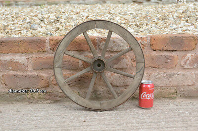 Vintage old wooden cart wagon wheel  / 38.5 cm FREE DELIVERY