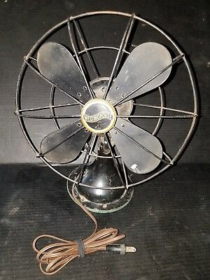 Works vintage Westinghouse metal fan steampunk pivots mounting holes brass plate