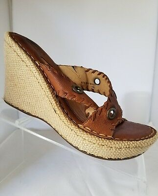 BOC Born Concept Women's Brown Leather Strap Wedge Sandals Open Toe Size 8 M