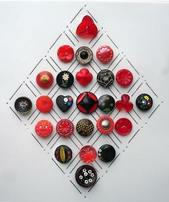 25 Vintage Glass Flower Buttons / Black & Red