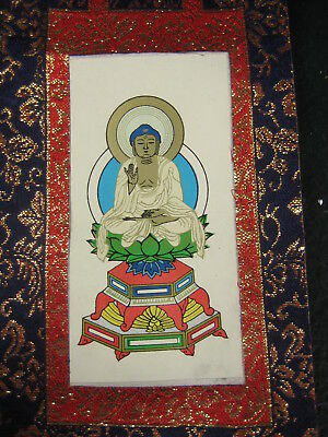 Antique Japanese Seated Buddha Shrine Scroll Fearless Blessing Mudra
