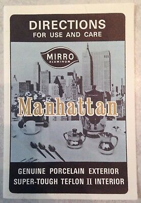 Vintage Mirro Manhattan Instruction Booklet From Mirro Aluminum Co, Manitowoc WI
