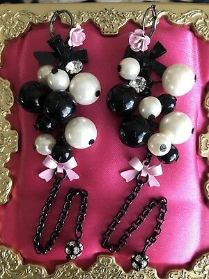 Betsey Johnson Vintage Vicki Victorian Pink Bow Rose Cluster Pearl Long Earrings