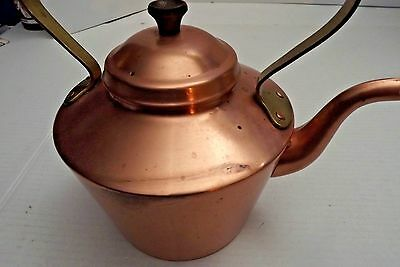 Vintage Copper Brass Tea Pot Kettle Wooden Handle Portugal