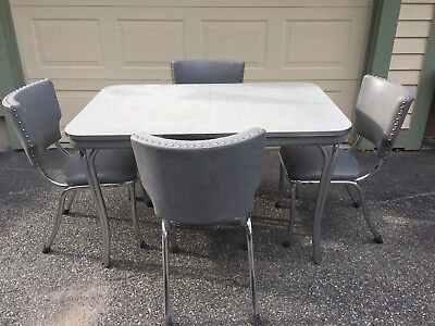 Vintage 1950's Formica And Chrome Kitchen Table and 4 Chairs