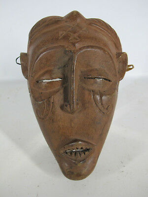 Vintage African Chokwe Tribe Hand Carved & Painted Wood Face Mask Angola #10 yqz