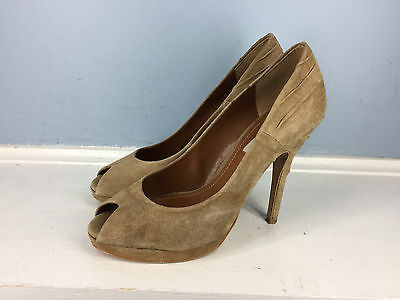 a83d7975c1e Zara Woman Brown Suede Leather Peep Toe Heel Ruched Excellent 39 8 Cocktail
