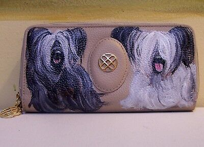 Hand painted Skye Terrier Buxton genuine leather double entry ckeck book wallet