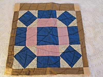 Antique Quilt Block - Large Hand Stitched Quilted Cutter Piece  21 X 22