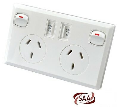 Double Power Point GPO with Dual USB Port