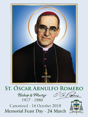 Soon to be Saint St OSCAR ROMERO Commemorative Holy Card + Martyr + Quotes