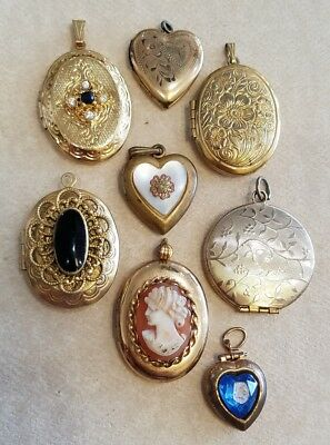 Antique Vintage Lot Of (8) Gf & Gold Plated Picture Lockets Cameo Hearts