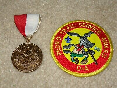 Boy Scout BSA Pedro Camp D-A Michigan Service Award Trail Medal and Patch