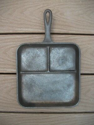 """Vintage 3 Section Divided Cast Iron Skillet Pan 8"""" NICE AND FLAT"""