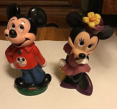 "Pair Of Vintage Disney Mickey Mouse & Minnie Mouse 11"" Figural Coin Banks"