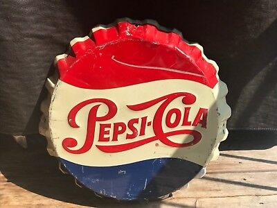 "Vintage 1950's Embossed 19"" Pepsi Cola Bottle Cap Advertising Sign Gas Oil Soda"