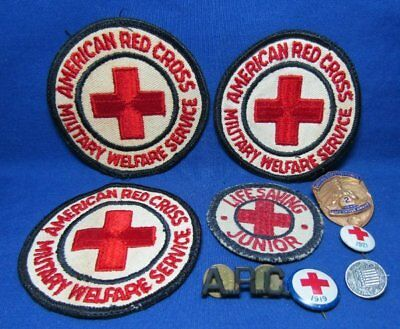 WWII A.R.C. American Red Cross Officer Insignia, Pins, Patches Lot Of 9