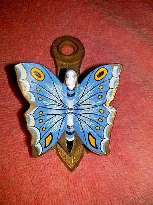 VTG Allied Brass Blue Butterfly Painted Clip Desk Wall Organizer/Photos/Recipes