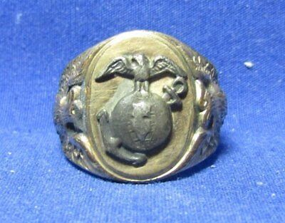 WWI 1/20 10K Gold USMC EGA Ring by Uncas - SIZE 7 1/2
