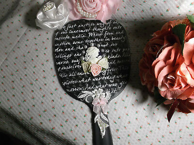 Black Hand Mirror/french Script, Women Cameo, Roses, Sequence Applique, Vanity
