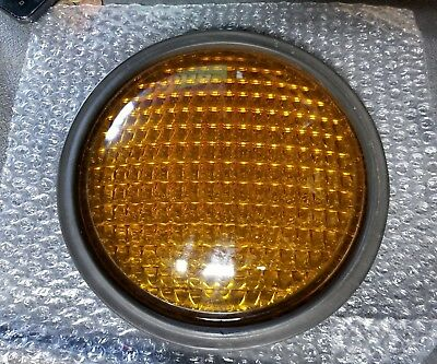 "Marbelite Traffic Light Lens Yellow 8 3/8"" corning glass"
