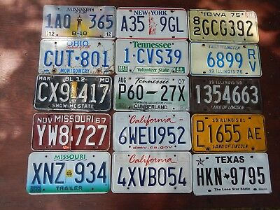 Lot of 15 US license plates,  road kill, rough, damaged