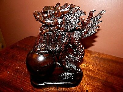 Large Dragon, Cared from solid Walnut,  Exceptional Detailing, Incense Burner.