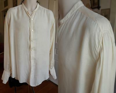 Excellent Antique Edwardian Collarless Shirt by SHIRTCRAFT * Ivory Rayon
