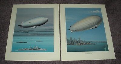 Two Zeppelin / Airships / Blimp Prints (14 x 11 Inches,Unframed)