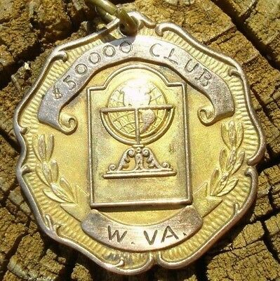 Beautiful old WV 1945 Insurance Sales Award gold Medal $50,000 club one yr WWII