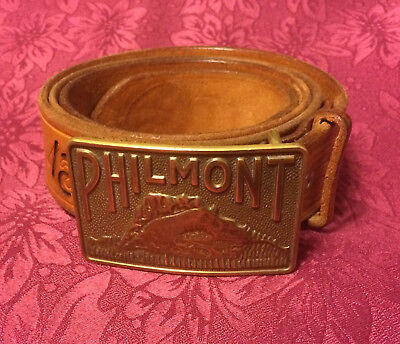 PHILMONT Boy Scout RANCH Camp Hand Tooled Branded LEATHER BELT & BUCKLE Sz 40