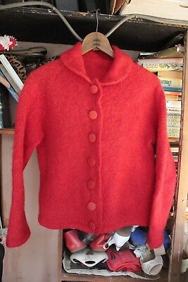 Vintage~ Cardigan~ Boho ~Cute Red  Mohair Wool~ Hand made  Size Small to Medium