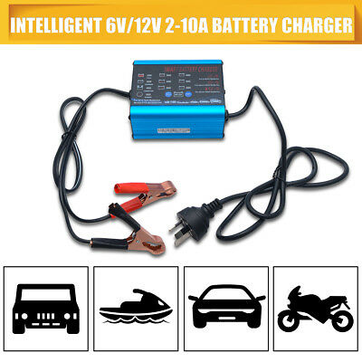 NEW GEL AGM Battery Charger Auto Smart 12V 6V 2/6/10A Car Boat 4WD Caravan Bike