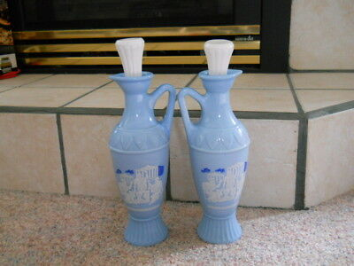 2 Vintage JIM BEAM Blue Decanter Bottles Cork Stoppers PLATO ARISTOTLE SOCRATES