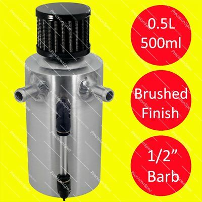 """0.5L Brushed Aluminium Oil Breather Tank With 13mm / 1/2"""" Inlets + Black Filter"""