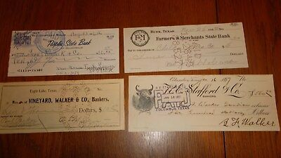 10 TEXAS BANK CHECKS LOT  -  LAVACA Cotulla HALLETTSVILLE Eagle Lake COLUMBUS