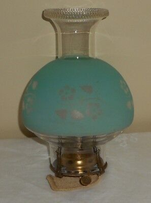 #2 Size Columbia Bulge Green Floral Oil Lamp Chimney Shade Queen Anne Burner Set