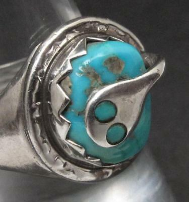 Effie Calavaza Zuni Native Indian Sterling Silver & Turquoise Snake Ring Sz 7.25