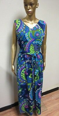 Amazing Vintage Alice Polynesian Fashion Paisley Design 1 Pc Wide Leg Jump Suit