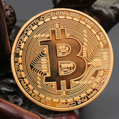 Red Copper Rare Collectible Golden Bitcoin Commemorative Plated Miner Coin Gift