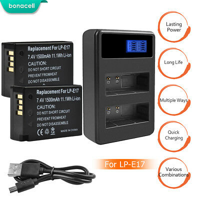 Bonacell LP-E17 Battery or Charger for Canon EOS Rebel T6i T7i 750D 800D M3  SK