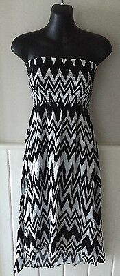 Ladies Cotton On Black & White Zig Zag Bandeau Dress, Xs, Worn Once, As New