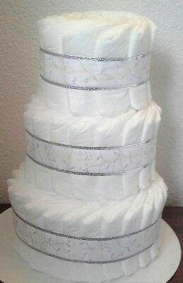 White and Silver Theme Baby Shower 3 Tier Diaper Cake Table Centerpiece Gift