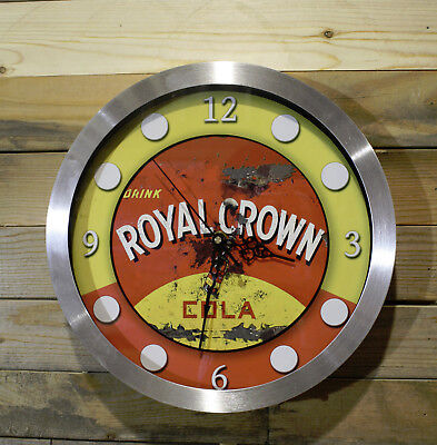 RC Cola Royal Crown Wall Clock 12 inch Non Ticking Sweep Hand Glass Aluminum
