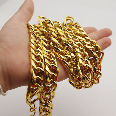 "Mens hip hop jewelry 18k Yellow Gold Filled Cuban Curb Chain 24"" long Necklace"