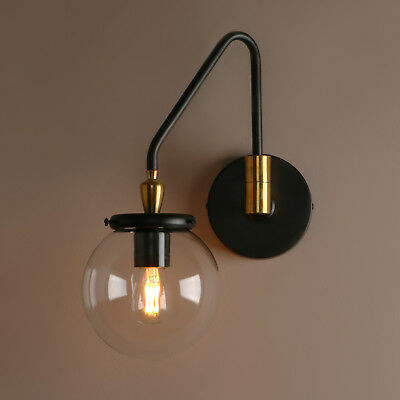 """5.9"""" Globe Clear Glass Vintage Industrial Wall Lamp Sconce Adjustable Wall Light"""