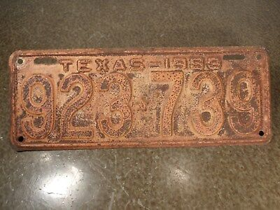 Vintage Original Paint TEXAS 1933 License Plate 923-739 Nice but badly Faded
