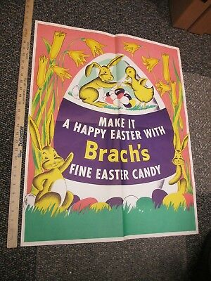 Brach's EASTER candy 1950s store display sign (1) poster eggs bunny chick