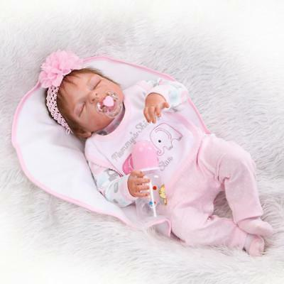 "23""Reborn Baby Doll  Lifelike Handmade Full Silicone Vinyl Sleeping Newborn Girl"