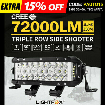 7inch Side Shooter CREE LED Light Bar Triple Row Spot Flood Cmobo Beam ATV SUV